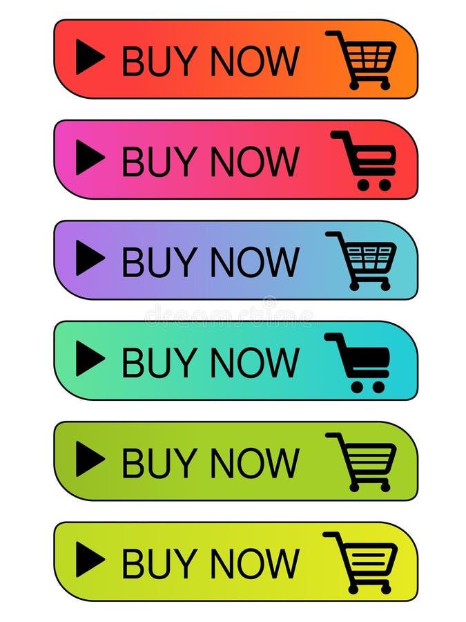 Carrinho de compras simples do vetor, trole Compra do item de menu agora Teclas coloridas ilustração do vetor