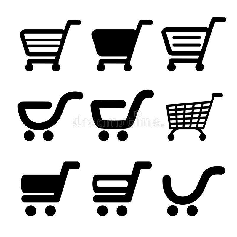 Carrinho de compras simples preto, trole, artigo, botão ilustração stock