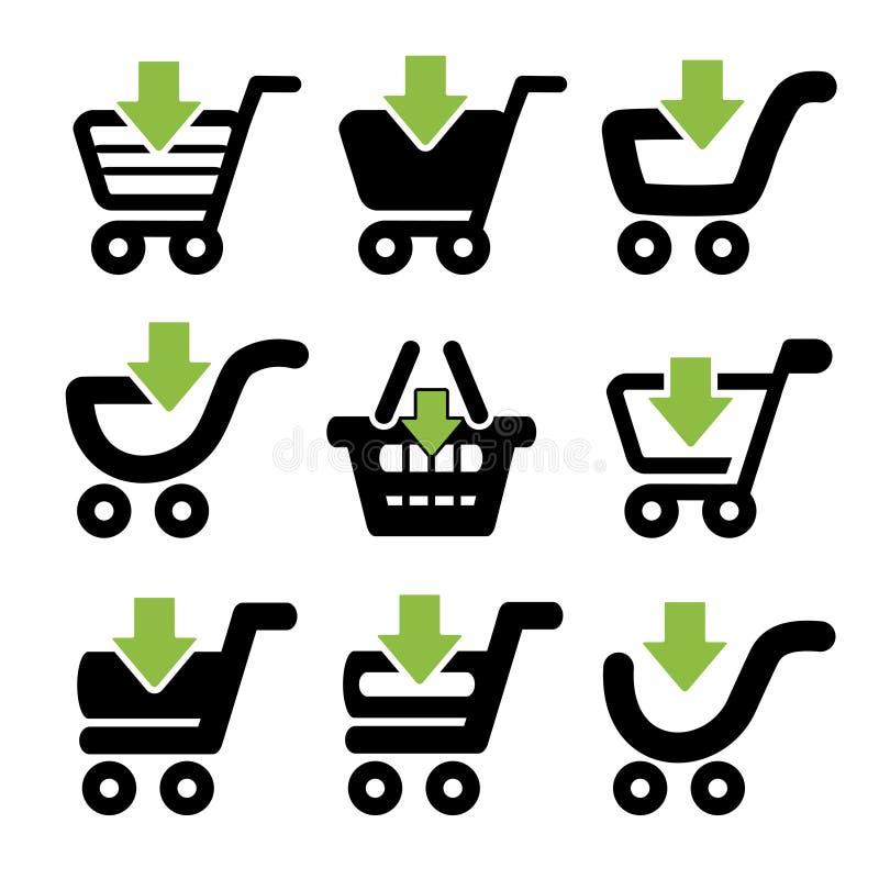 Carrinho de compras simples preto, trole com seta verde, artigo ilustração stock