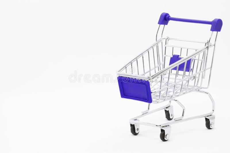 Carrinho de compras vazio Mini Supermarket do carro da mão do mantimento fotos de stock royalty free
