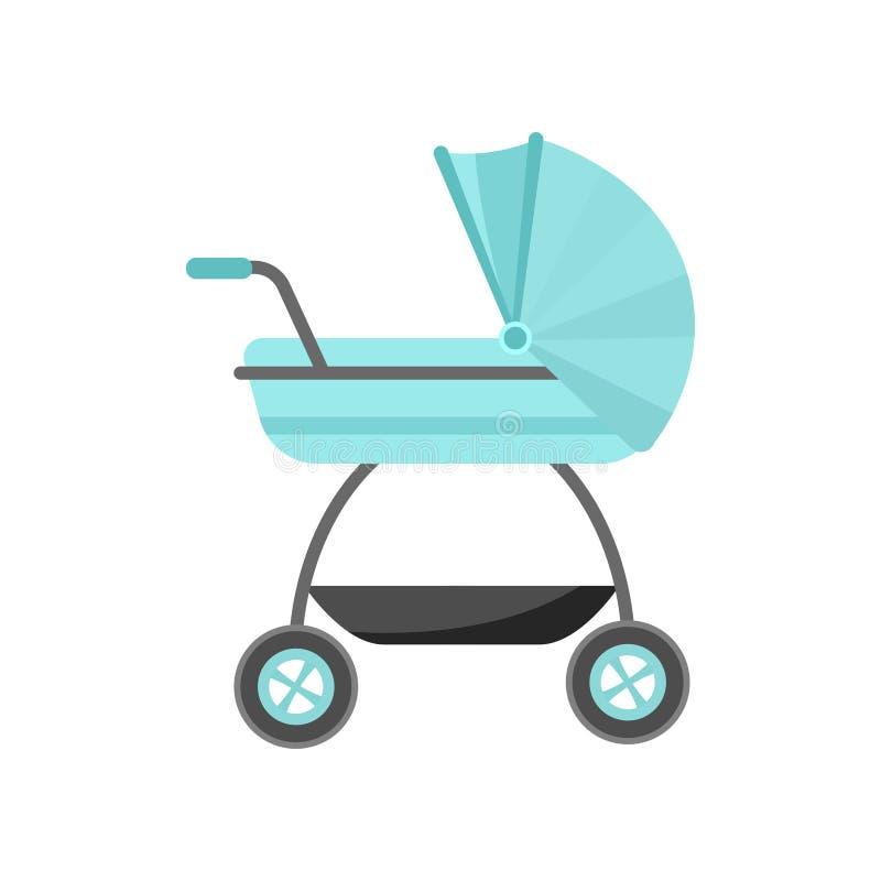 Carrinho de criança de bebê moderno da cor do aqua com cesta adicional ilustração do vetor