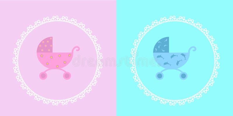 Carrinho de criança de bebê para uma menina e um menino no quadro decorativo ilustração royalty free