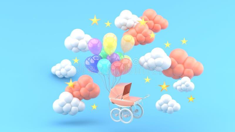 Carrinho de criança cor-de-rosa e balões de flutuação cercados por nuvens e por estrelas em um fundo azul fotografia de stock royalty free