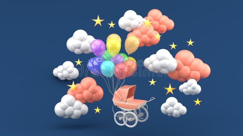 Carrinho de criança cor-de-rosa e balões de flutuação cercados por nuvens e por estrelas em um fundo azul fotos de stock