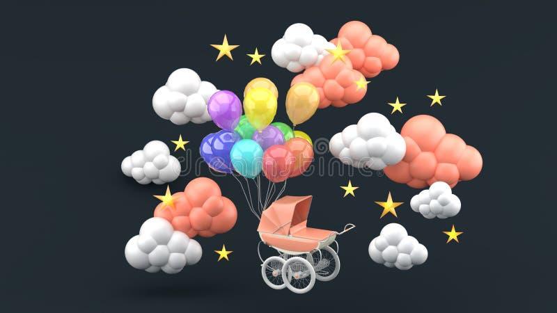 Carrinho de criança cor-de-rosa e balões de flutuação cercados por nuvens e por estrelas em um fundo preto ilustração royalty free