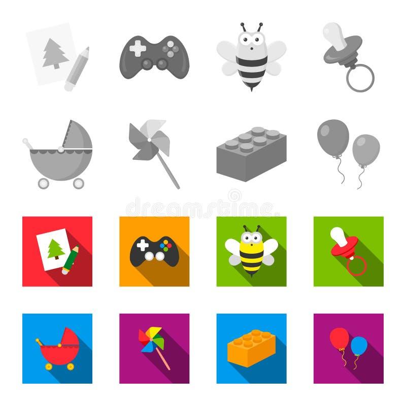 Carrinho de criança, moinho de vento, lego, balões Os brinquedos ajustaram ícones da coleção na ilustração monocromática, lisa do ilustração stock