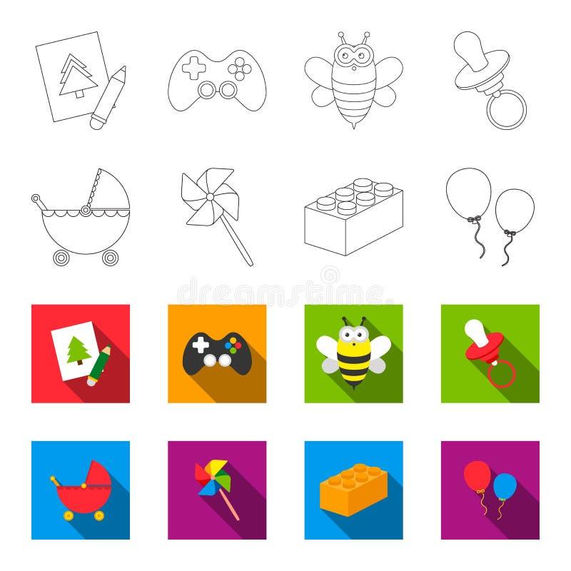 Carrinho de criança, moinho de vento, lego, balões Os brinquedos ajustaram ícones da coleção no esboço, Web lisa da ilustração do ilustração stock