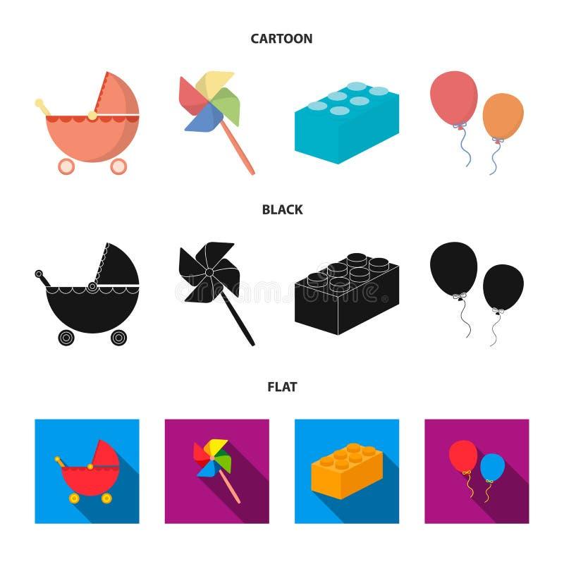 Carrinho de criança, moinho de vento, lego, balões Os brinquedos ajustaram ícones da coleção nos desenhos animados, preto, estoqu ilustração royalty free