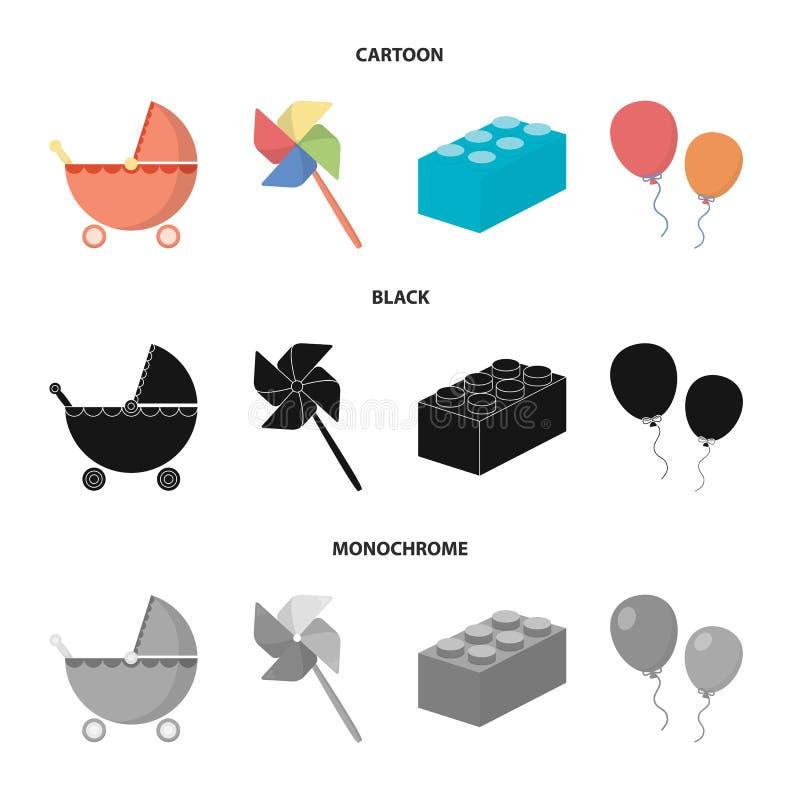 Carrinho de criança, moinho de vento, lego, balões Os brinquedos ajustaram ícones da coleção nos desenhos animados, preto, estoqu ilustração stock