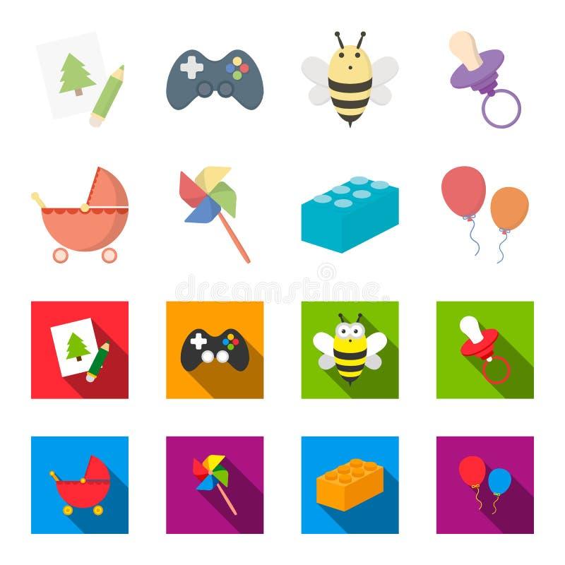 Carrinho de criança, moinho de vento, lego, balões Os brinquedos ajustaram ícones da coleção nos desenhos animados, Web lisa da i ilustração royalty free