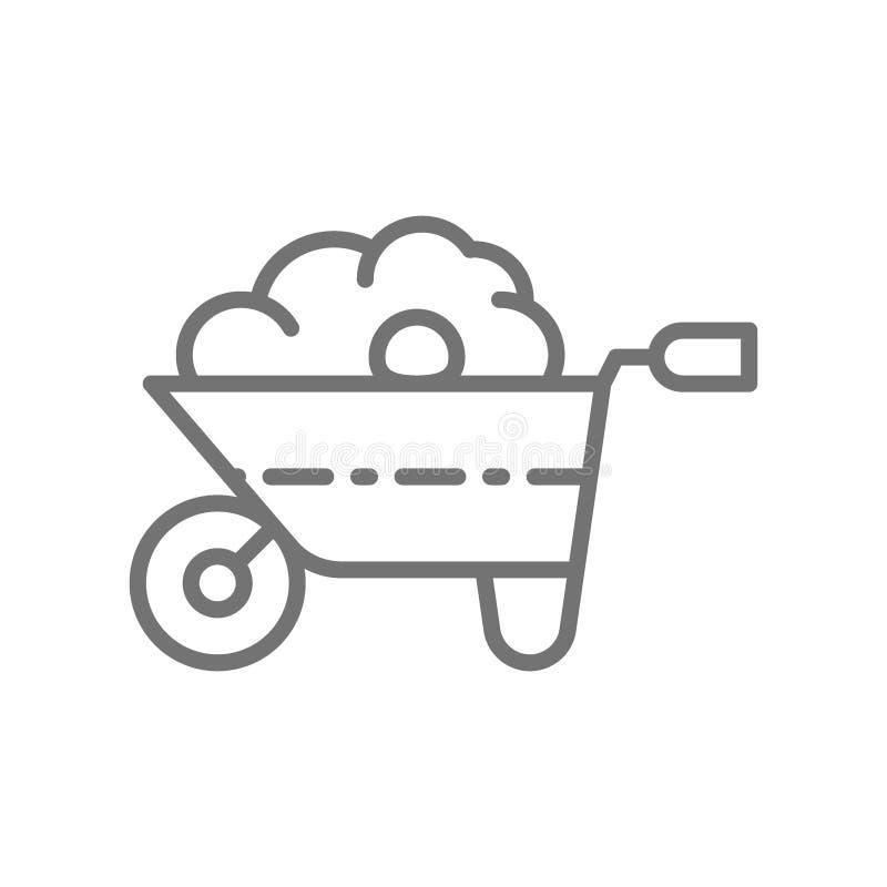 Carrinho de mão com adubo orgânico, estrume, ferramenta de jardinagem, linha ícone da agricultura ilustração stock