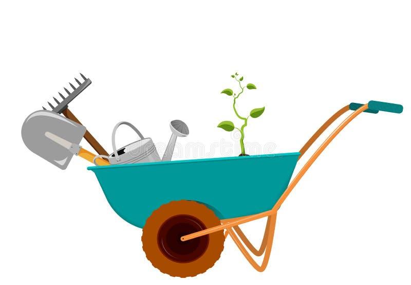 Carrinho de mão com uma pá, um ancinho, uma lata molhando e um broto ilustração royalty free