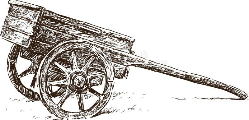 Carrinho de mão de madeira ilustração stock