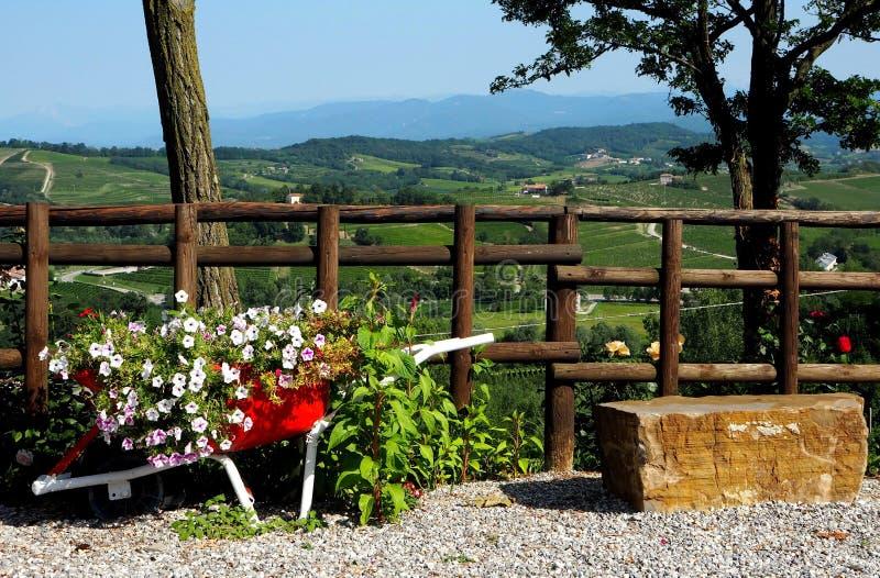 Carrinho de mão decorativo do jardim com fundo a paisagem de Brda fotografia de stock