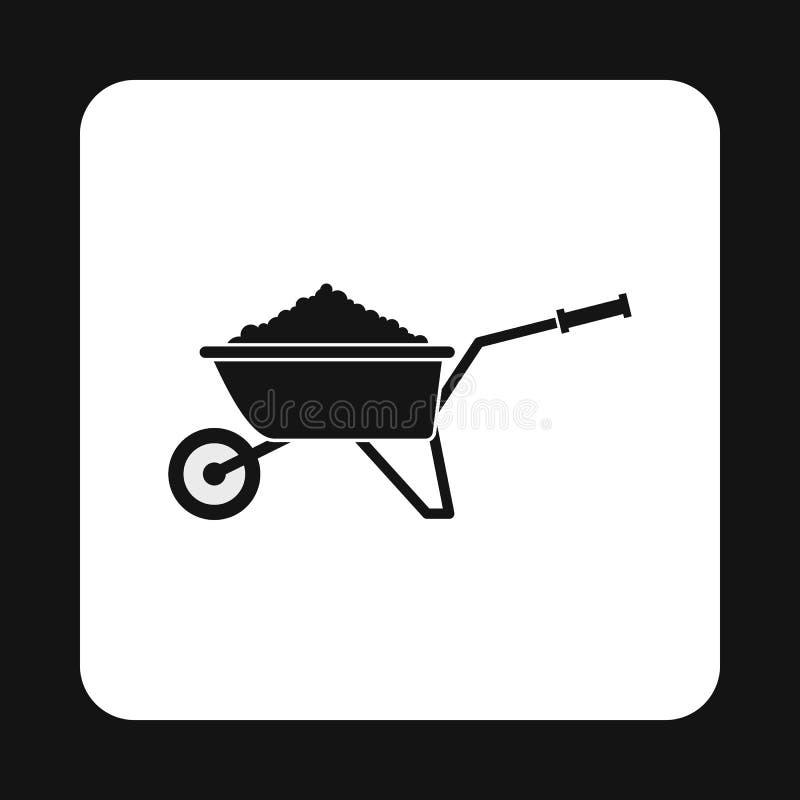 Carrinho de mão do jardim com ícone da terra, estilo simples ilustração do vetor