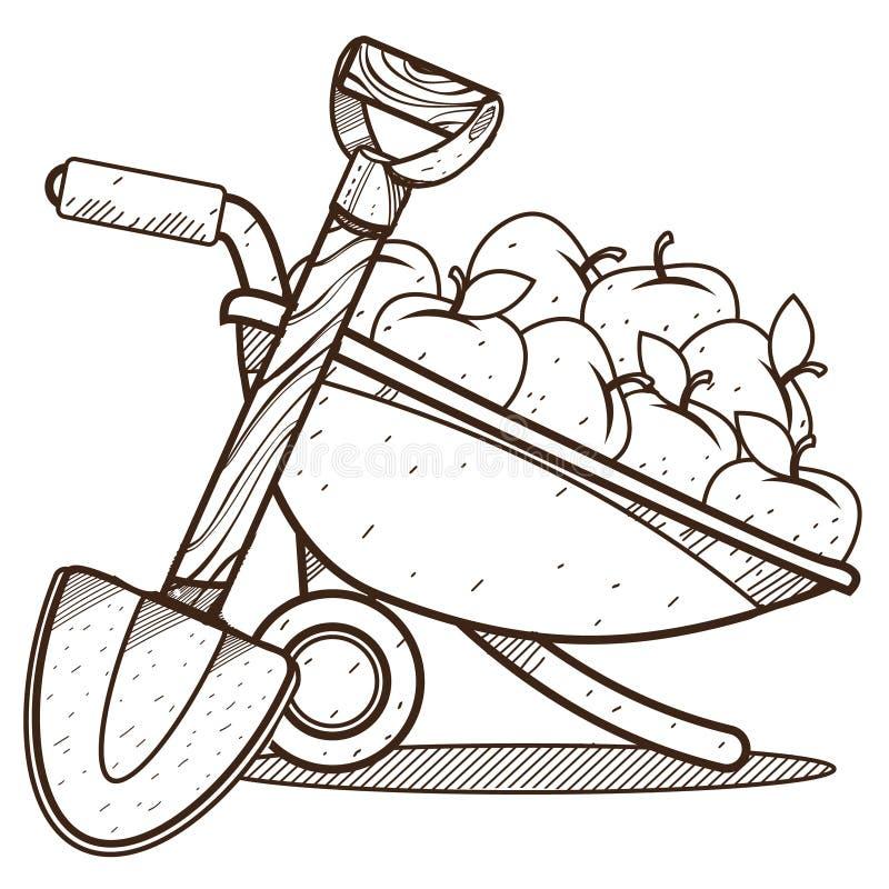 Carrinho de mão do jardim com maçãs e pá cultivar Neg?cio agr?cola Desenho de esbo?o para colorir ilustração royalty free