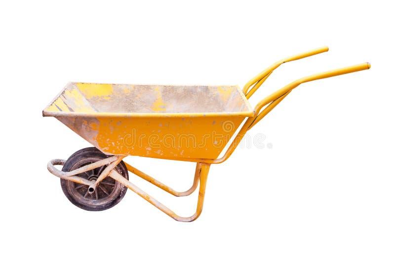 Carrinho de mão de roda amarelo isolado no fundo branco Carrinho de mão de roda isolado Wheelbarrow isolado foto de stock