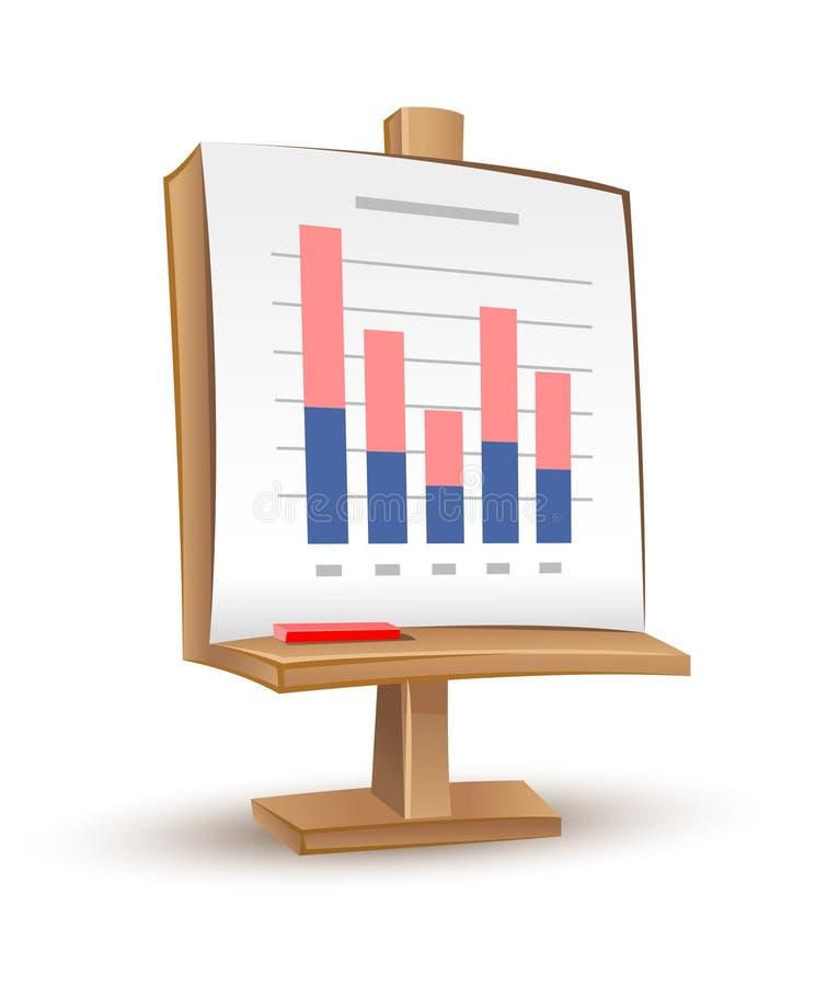 Carrinho de madeira com relatório do gráfico do analytics ilustração stock