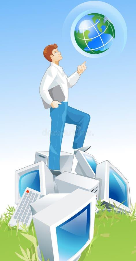Carrinho do homem sobre computadores ilustração do vetor
