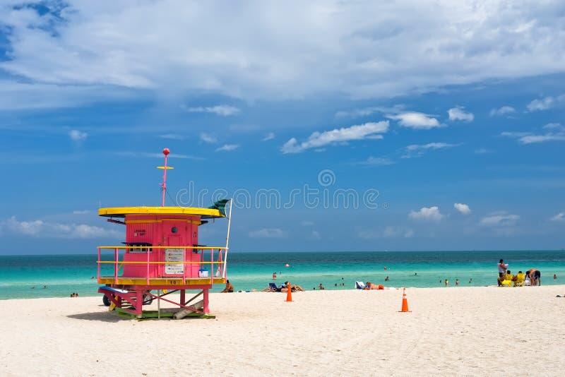 Carrinho do Lifeguard, praia sul, Miami imagem de stock royalty free