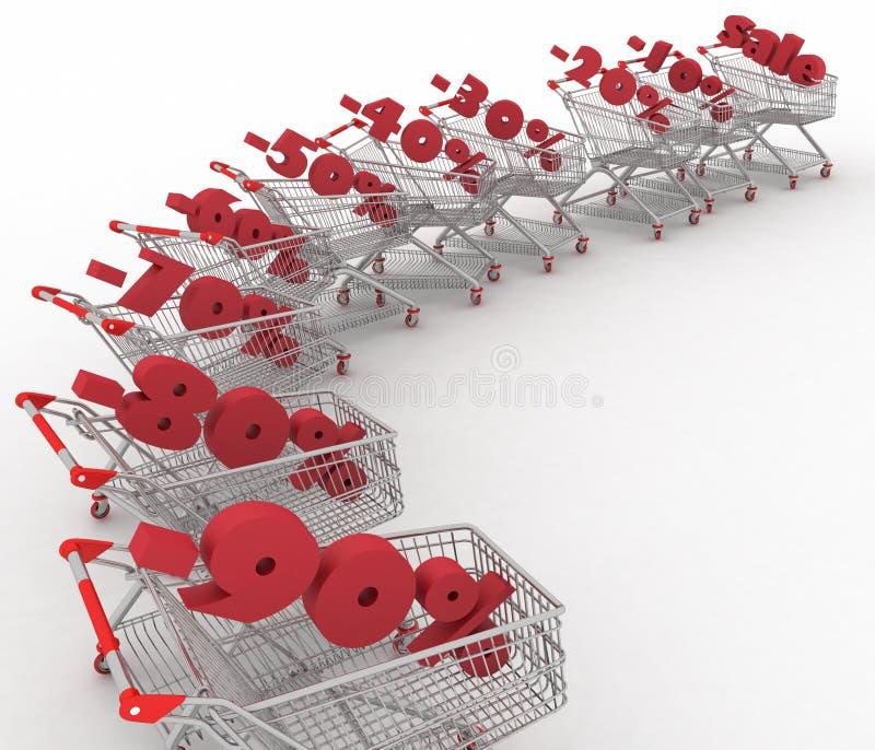 Carrinhos de compras completamente da venda da porcentagem. ilustração stock