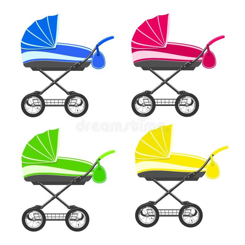 Carrinhos de criança coloridos ilustração royalty free