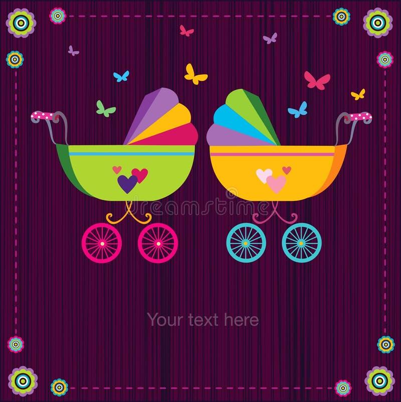 Carrinhos de criança de bebê bonitos ilustração stock