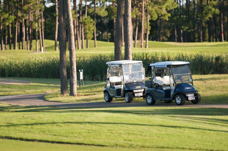 Carrinhos do golfe no curso imagens de stock