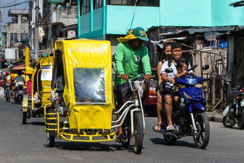 Carrito de ciclo local del pedicab en Manila, Filipinas foto de archivo libre de regalías