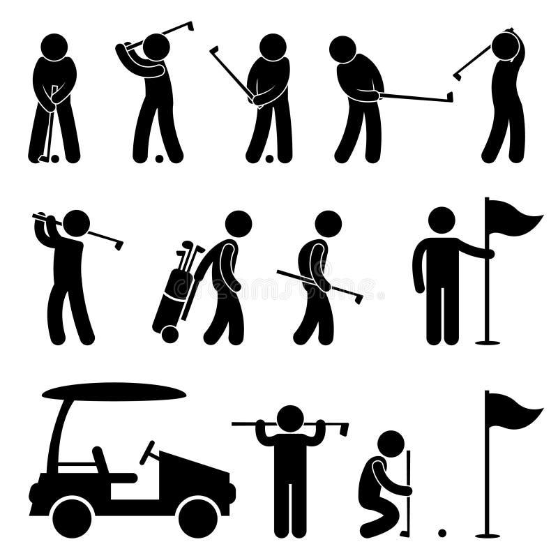 Carrito de la gente del oscilación del golfista del golf stock de ilustración