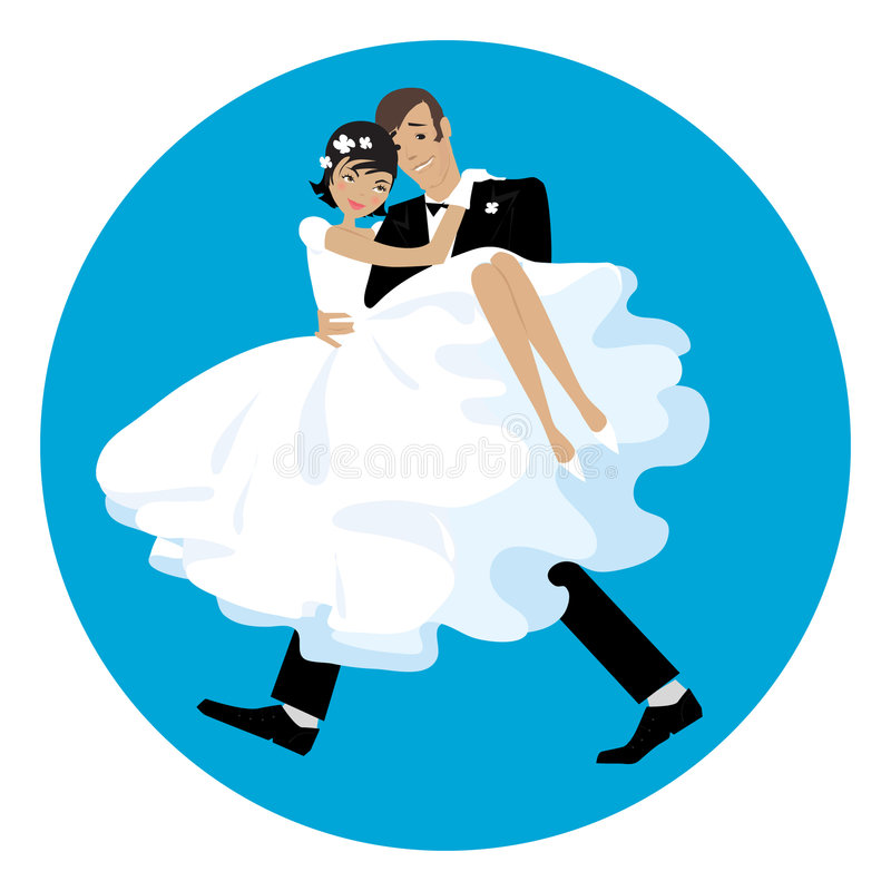 Carriyng the bride stock illustration