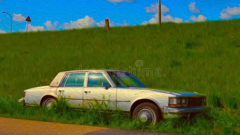 Carro abandonado velho ilustração do vetor