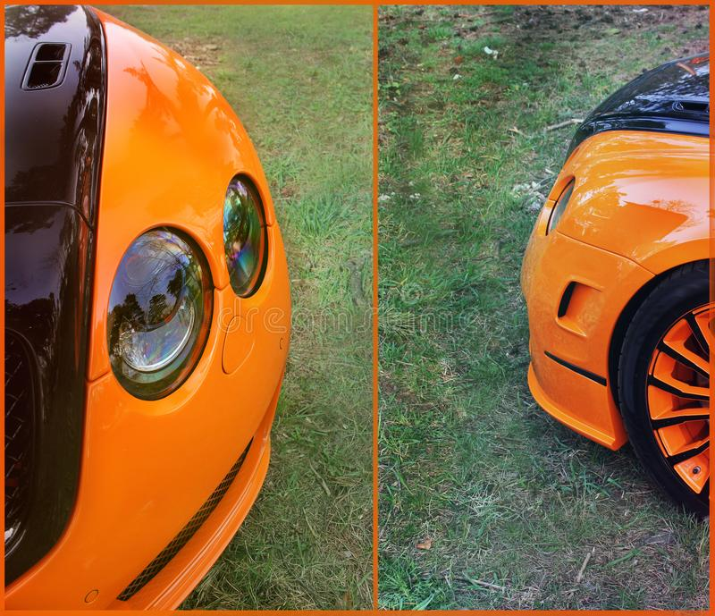 Carro alaranjado da parte no fundo do asfalto ajustar Carro luxuoso alaranjado fotografia de stock royalty free