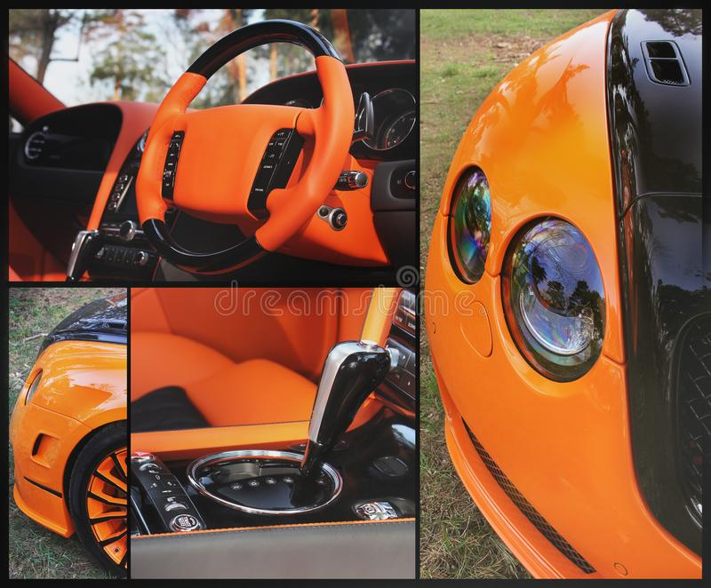 Carro alaranjado da parte no fundo do asfalto Carro luxuoso alaranjado fotos de stock royalty free