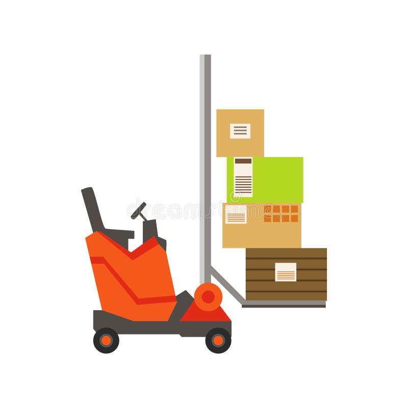 Carro alaranjado do armazém da empilhadeira que levanta os pacotes da caixa de papel, maquinaria do reservado sem motorista ilustração royalty free