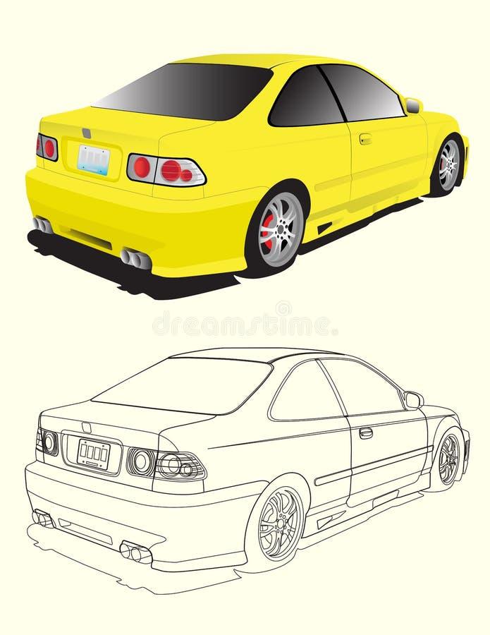 Carro amarelo ilustração royalty free