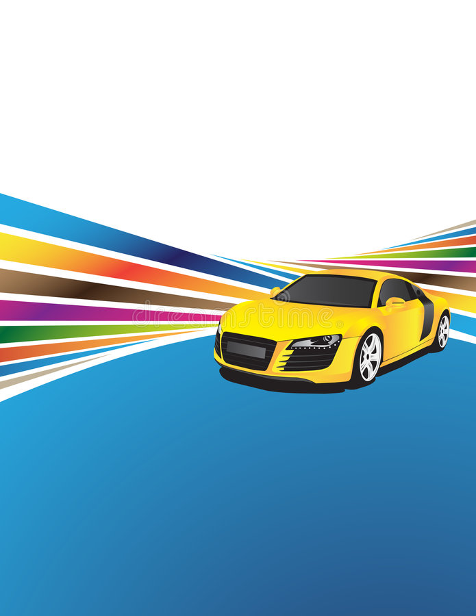 Carro amarelo ilustração stock