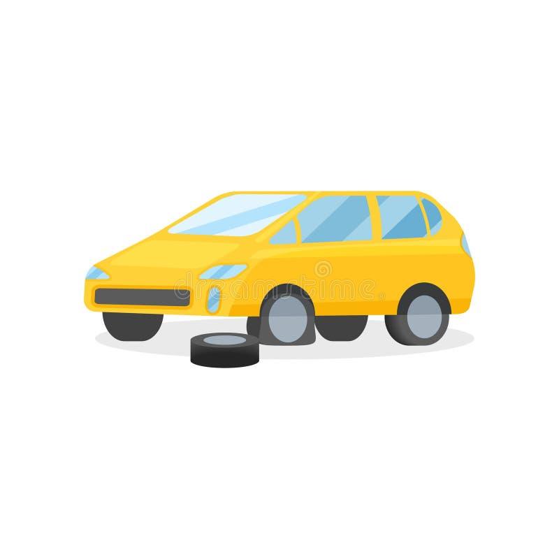 Carro amarelo com pneu puncionado Elemento liso do vetor para anunciar o cartaz ou o inseto da oficina do reparo do automóvel ilustração do vetor