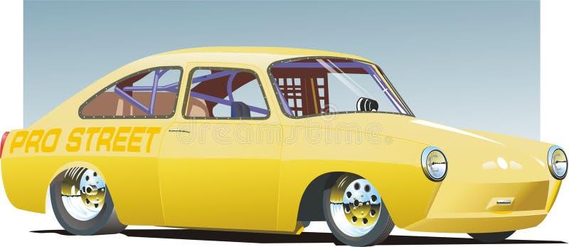 Carro amarelo do arrasto ilustração royalty free