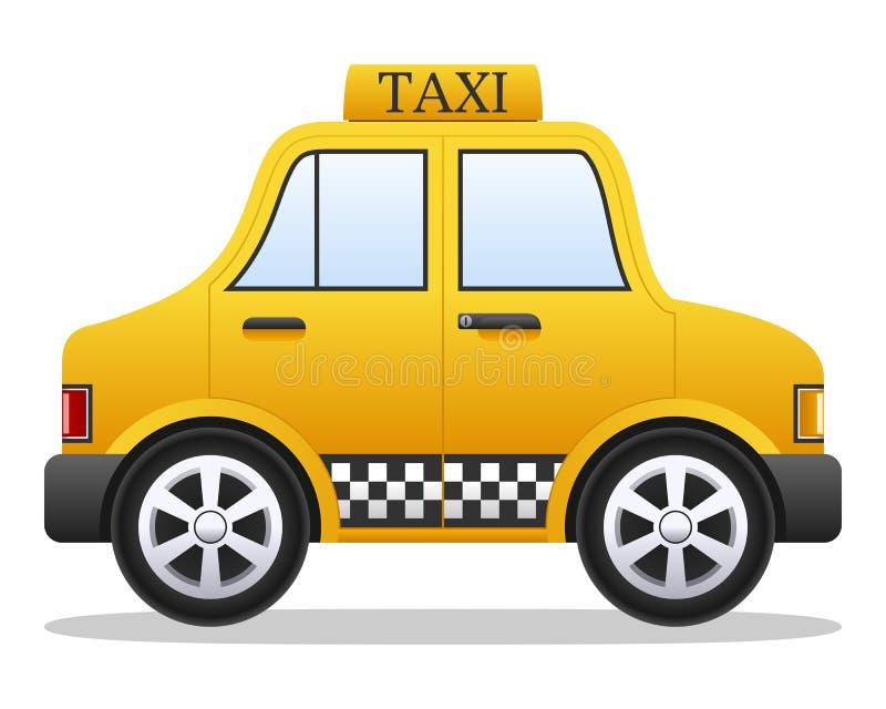 Carro amarelo do táxi dos desenhos animados ilustração stock