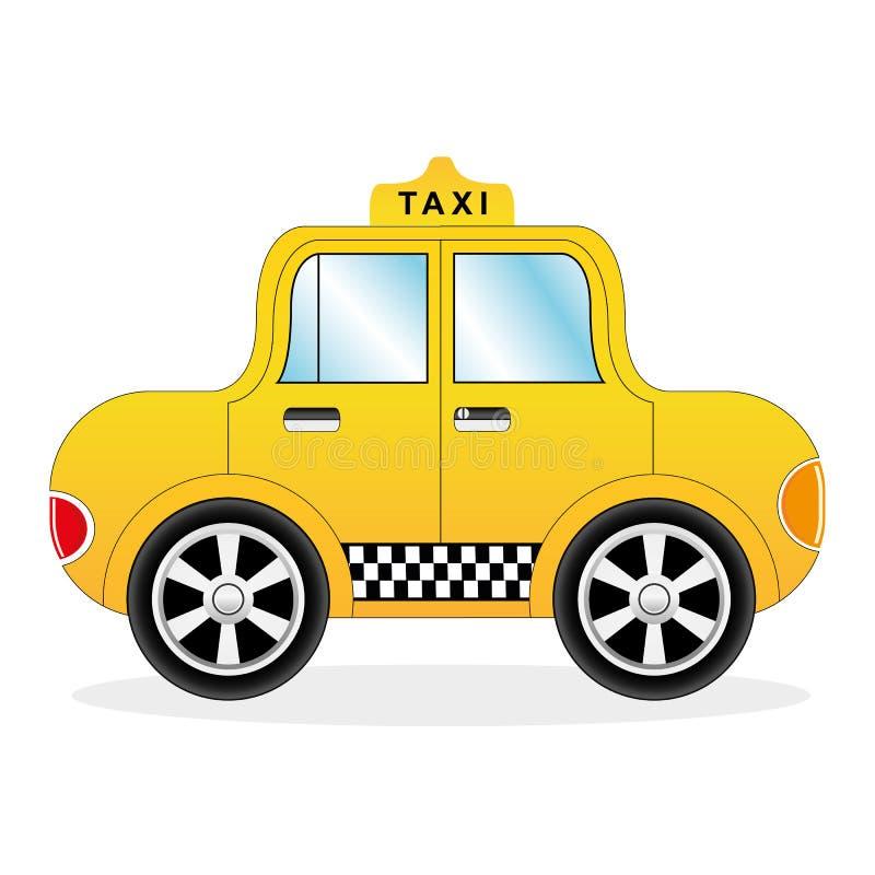 Carro amarelo do táxi dos desenhos animados ilustração royalty free