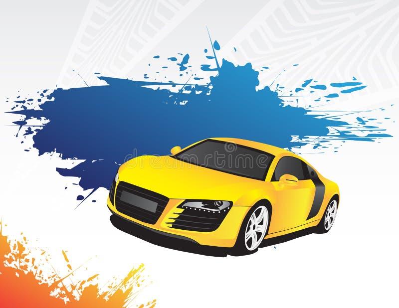 Carro amarelo e respingo azul ilustração stock