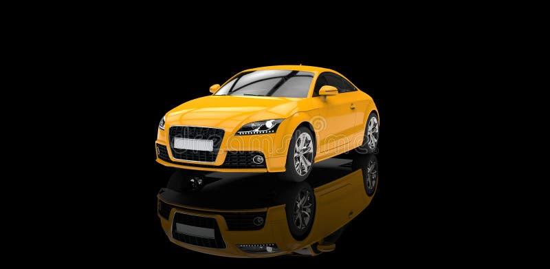 Carro amarelo na sala de exposições preta ilustração royalty free