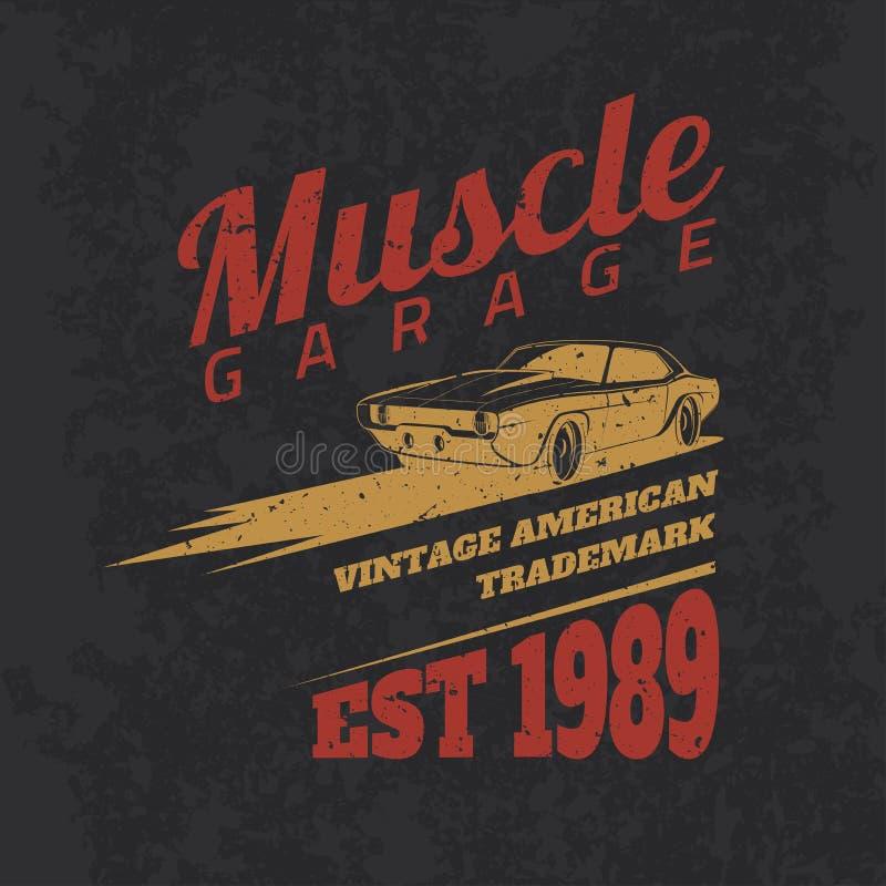 Carro americano do músculo do vintage para imprimir com textura do grunge ilustração do vetor