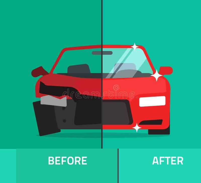 Carro antes após, auto serviço de manutenção deixado de funcionar, quebrado e reparado ilustração royalty free