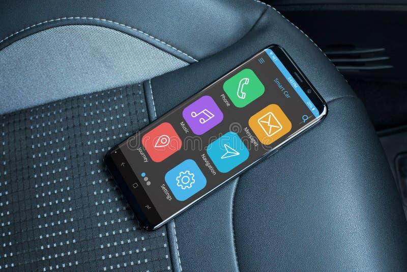 Carro app móvel no telefone celular moderno com bordas lisas imagem de stock royalty free
