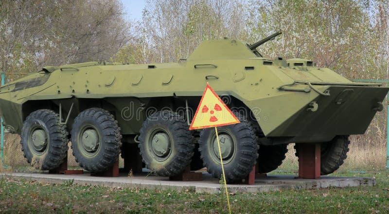 Carro armato dei militari di Cernobyl Ucraina fotografie stock