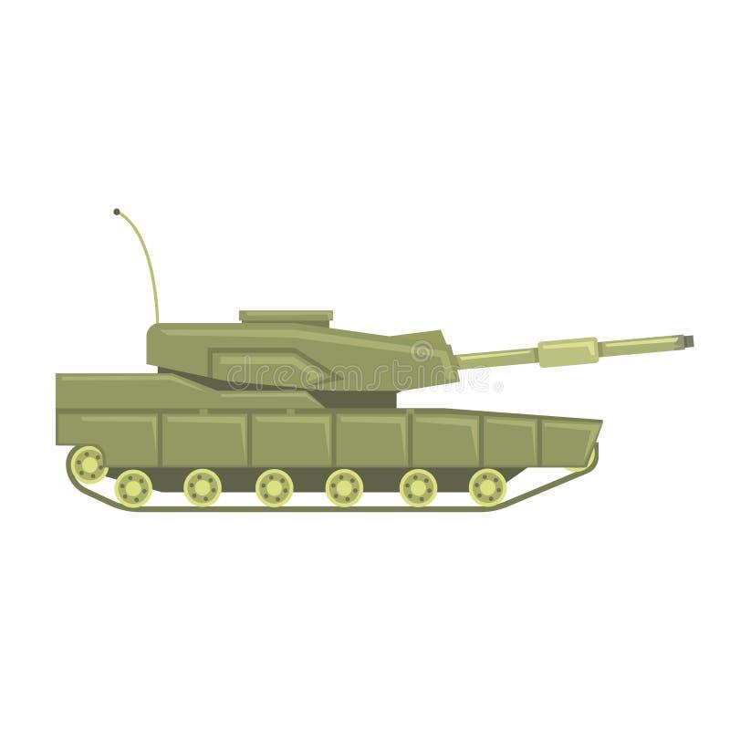 Carro armato militare con il cannone Illustrazione militare di vettore del veicolo da combattimento illustrazione di stock