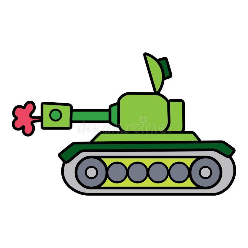 Carro armato semplice lineare separato su spazio bianco royalty illustrazione gratis