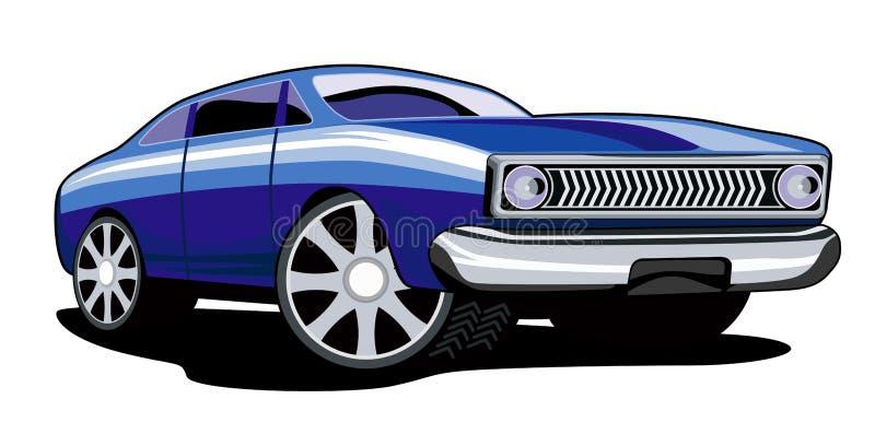 Carro azul clássico BG branca ilustração do vetor
